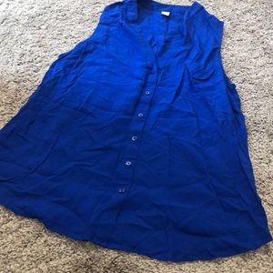 Blue button down blouse